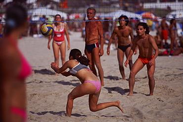 Beach Volleyball, Copacabana beach, Rio de Janeiro, Brazil, South America