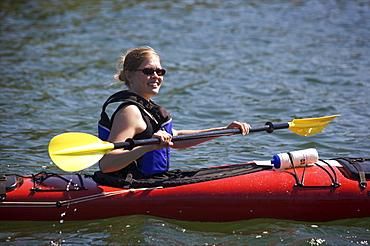 Canoeing along the coasts of the Kobba Klintar island in the Aland archipelago Finland, Scandinavia, Europe