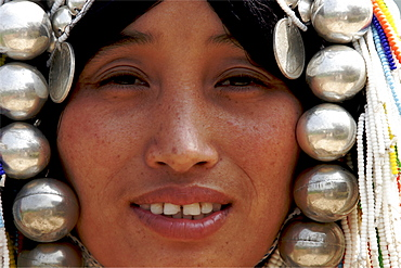 An Akha woman in the area of Mae Sai, in the Golden Triangle, Thailand, Southeast Asia, Asia