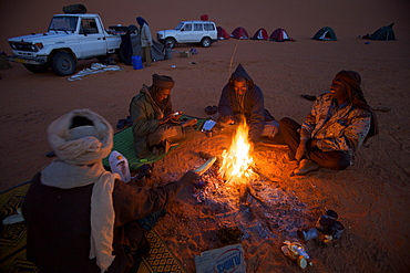 A tented camp in the dunes of the erg of Murzuk in the Fezzan desert, Libya, North Africa, Africa