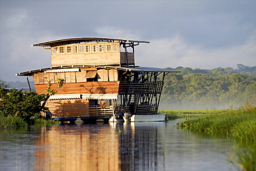 View of the floating lodge of the marsh, the everglade area of Kaw, French Guiana, South America