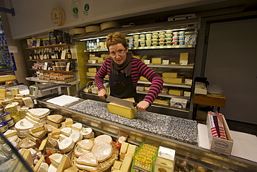 A cheese shop at the market of Besancon, Doubs, Franche-Comte, France, Europe