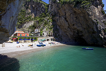 The small natural harbour of Furore on the Amalfi Coast, UNESCO World Heritage Site, Campania, Italy, Europe