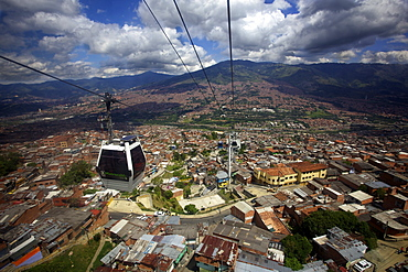 View over the Barrios Pobre of Medellin, where Pablo Escobar had many supporters, Colombia, South America