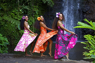 Some vahines from the Tahiti Ora troupe, French Polynesia, Pacific Islands, Pacific