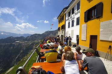 At the Rifugio A Papa, 2000 meters, Strada delle 52 gallerie, Veneto, Italy, Europe
