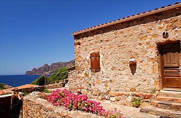 The small village of Girolata in the marine reserve of Scandola, close to the gulf of Porto, Corsica, France, Mediterranean, Europe