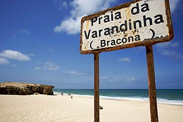 The beach of Praia de Varandinha, a continuation of Praia de Chavez, west coast of Boa Vista, Cape Verde Islands, Atlantic, Africa