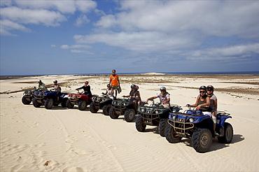 Quads on the beach of Praia de Chavez, west coast of Boa Vista, Cape Verde Islands, Atlantic, Africa