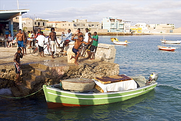 At the harbour of Sal Rei, capital of Boa Vista, Cape Verde Islands, Atlantic, Africa