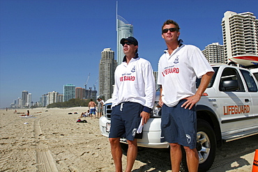 Life guards on the Gold Coast in the city of Surfers Paradise, Queensland, Australia, Pacific