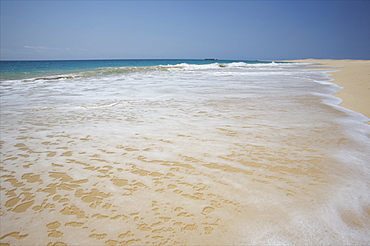The Curralinho beach, on the south west coast of the Boa Vista island, one of the most beautiful in the world, Cape Verde Islands, Atlantic, Africa