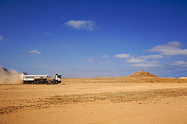 In the center of the island of Boa Vista, a truck coming from Sal Rei, Cape Verde Islands, Atlantic, Africa