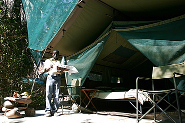 A tent of the Epupa tented camp, close to the Kunene River, Namibia, Africa