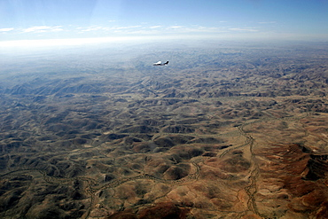 Flying over the Kaokoland mountains, mainly desert country, Namibia, Africa