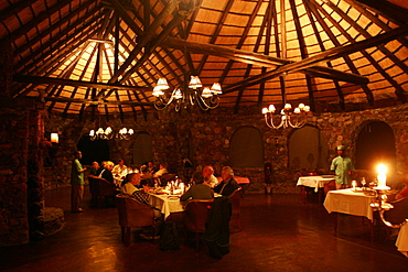 Restaurant building at the center of the tented camp, Eagle Tented Camp, Namibia, Africa