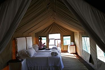 Inside a tent, Eagle Tented Camp, near Etosha and Damaraland, Namibia, Africa