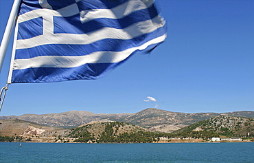 Cephalonia and Greek flag on a ferry boat on the west coast of the island, Ionian Islands, Greek Islands, Greece, Europe