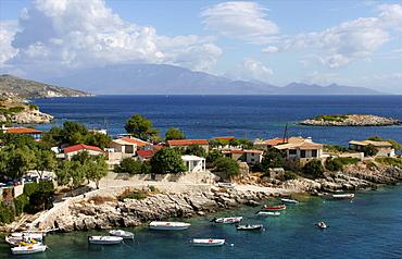 Agios Nikolaos, north coast of Zakinthos, with the island of Cephalonia beyond, Ionian Islands, Greek Islands, Greece, Europe
