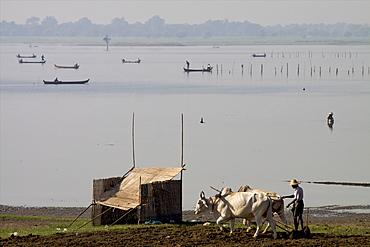 View of the U Bein lake from the teak bridge, Amarapura, Mandalay, Myanmar (Burma), Asia