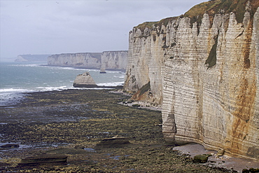 The limestone cliffs in the area of Etretat on the Alabaster coast, Seine Maritime, Normandy, France, Europe