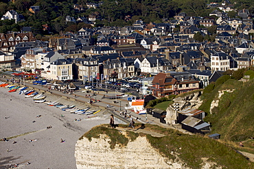 Cliffs of the Cote d'Albatre with the town of Etretat beyond, Seine Maritime, Normandy, France, Europe