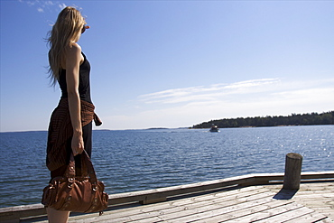 Waiting for the small ferry boat to travel from an island to another, Aland archipelago, Finland, Scandinavia, Europe