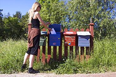 Mailboxes, Mariehamm, Aland archipelago, Finland, Scandinavia, Europe