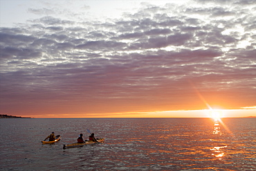 Kayaking and looking for whales at dawn on the Saint-Laurent river, in the Marine Park of the Saguenay Saint-Laurent, Les Bergeronnes, Quebec, Canada, North America