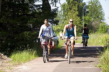 Cycling in Mariehamm on the Aland archipelago, Finland, Scandinavia, Europe