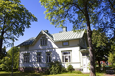 A typical wooden house on the main island of Aland archipelago, Finland, Scandinavia, Europe