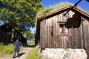 A turf roof house in Turku, South of Finland, Scandinavia, Europe
