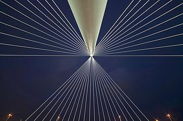 Detail of one of the bridges by Santiago Calatrava, at night, Three Bridges over the River Hoofdvaart, Hoofddorp, The Netherlands, Europe