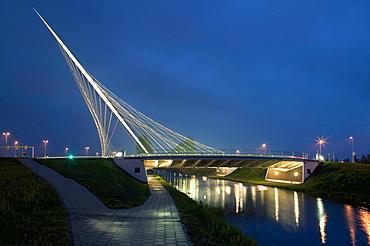 One of the bridges by Santiago Calatrava, at dusk, Three Bridges over the River Hoofdvaart, Hoofddorp, The Netherlands, Europe