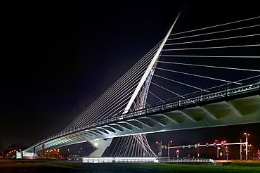 One of the bridges by Santiago Calatrava, at night, Three Bridges over the River Hoofdvaart, Hoofddorp, The Netherlands, Europe