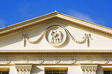Detail of pediment of south elevation of Kenwood House, dating from 1779, London, England, United Kingdom, Europe
