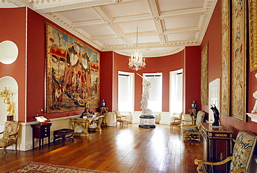 The Long Gallery including the Bergonzoli sculpture and Emperor of China tapestries, Rangers House, dating from 1723, London, England, United Kingdom, Europe