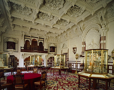 View of the Durbar Room looking towards the gallery, Osborne House, Isle of Wight, England, United Kingdom, Europe
