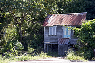 Dilapidated shack with corrugated iron roof, Grenada, Windward Islands, West Indies, Caribbean, Central America