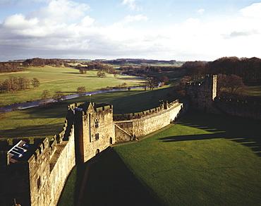 Exterior curtain wall, Alnwick Castle, Hulne Park, Northumberland, England, United Kingdom, Europe