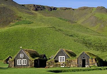 Turf houses with grass roofs, Folk Museum, Skogar, Iceland, Polar Regions