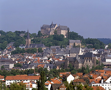 View of the old town and church, Marburg, Hessen, Germany, Europe