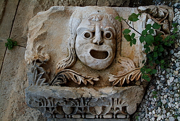 Frieze of stone mask from ancient theatre, Myra, Lycia, Anatolia, Turkey, Asia Minor, Eurasia