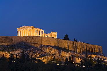 The Parthenon at dusk, Acropolis, UNESCO World Heritage Site, Athens, Greece, Europe