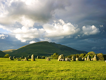 Storm clouds over stone circle of Castlerigg, Cumbria, England, United Kingdom, Europe