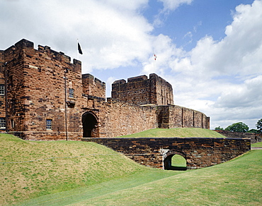 View from the south west of the Outer Gatehouse and the Keep beyond, Carlisle Castle, Carlisle, Cumbria, England, United Kingdom, Europe