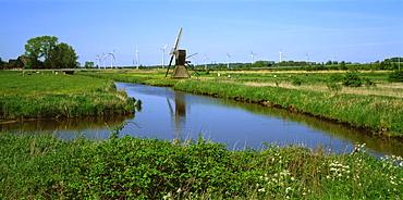 Windmills in Dithmarschen, Germany, Europe