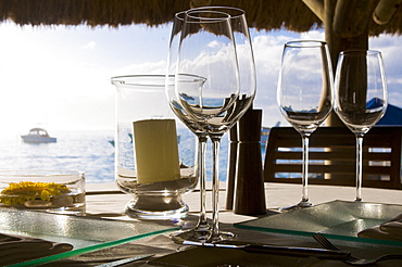 Glasses on a table of the Beachcomber Le Paradis five star hotel, Mauritius, Indian Ocean, Africa