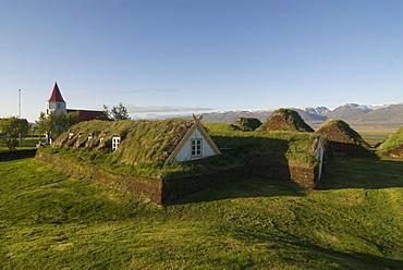 Traditional turf houses at Glaumbaer, Iceland, Polar Regions