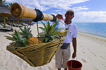 Man selling pineapples on the beach of the Beachcomber Le Paradis five star hotel, Mauritius, Indian Ocean, Africa